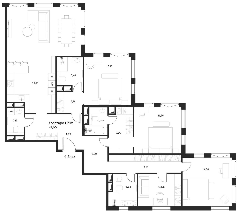 4Е-комнатная, 161.66 м²– 2