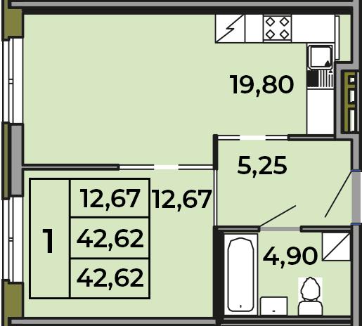 2Е-комнатная, 42.62 м²– 2