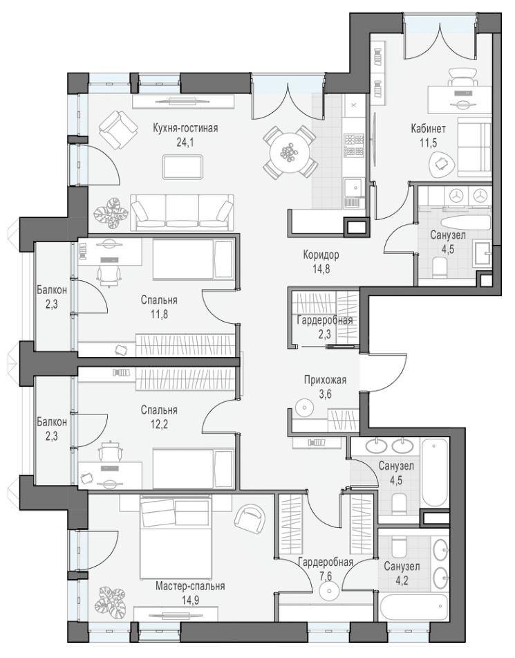 5Е-комнатная, 117.93 м²– 2