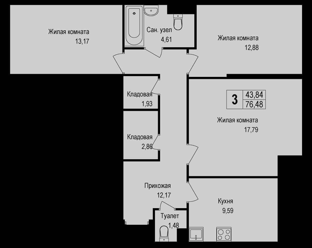 3-комнатная, 76.48 м²– 2