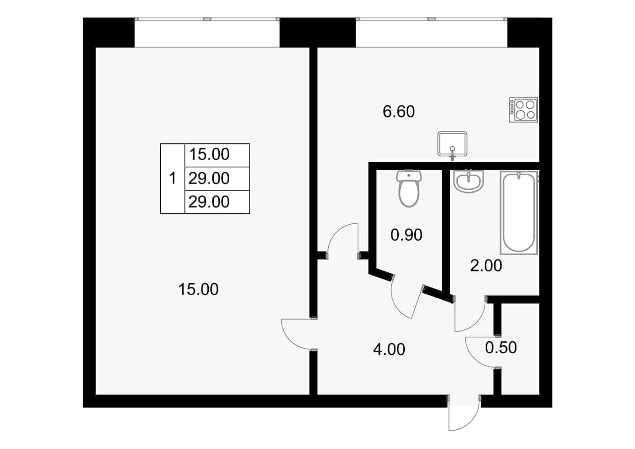 1-к.кв, 29 м²