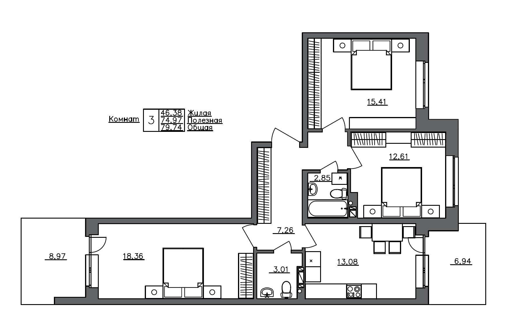 3-комнатная, 79.74 м²– 2