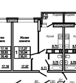 1-комнатная, 35.51 м²– 2
