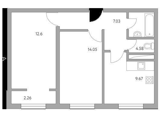 2-к.кв, 50.19 м²