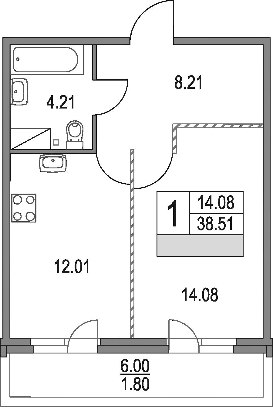 1-к.кв, 38.51 м², от 2 этажа