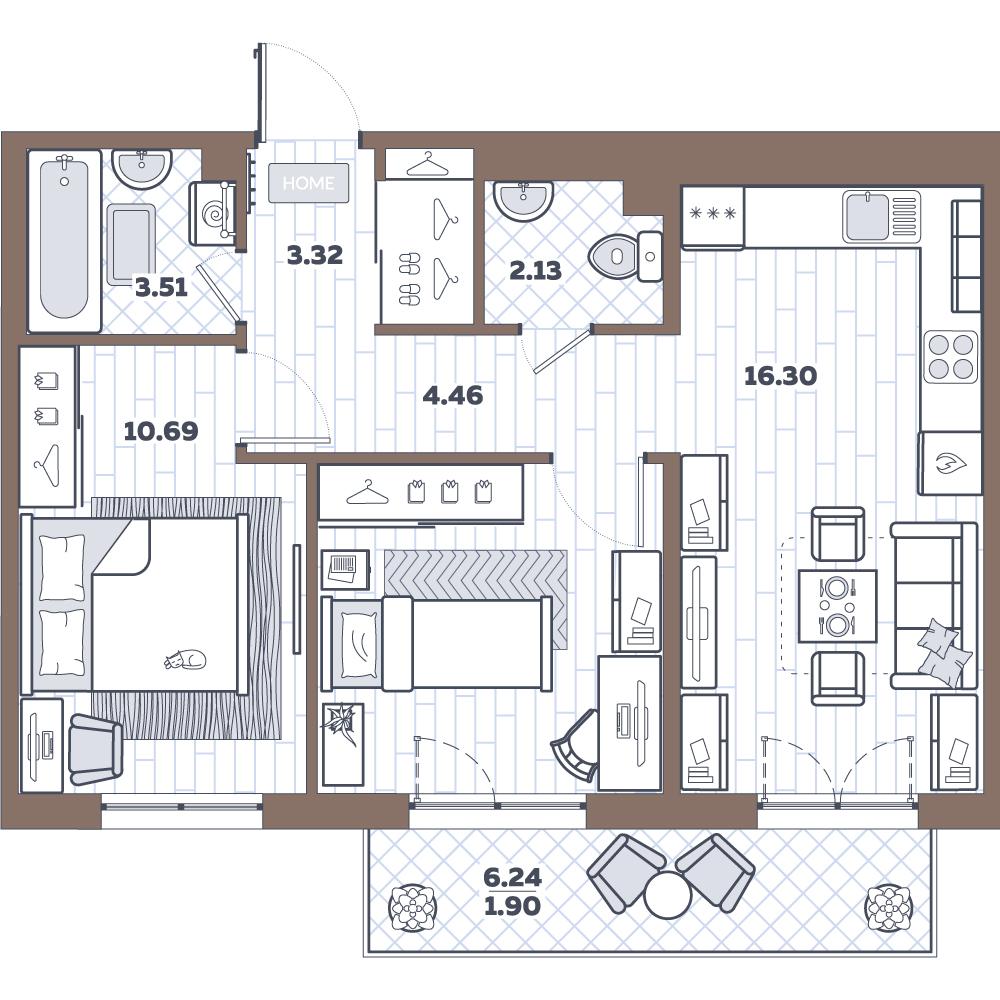 3Е-комнатная, 52.34 м²– 2