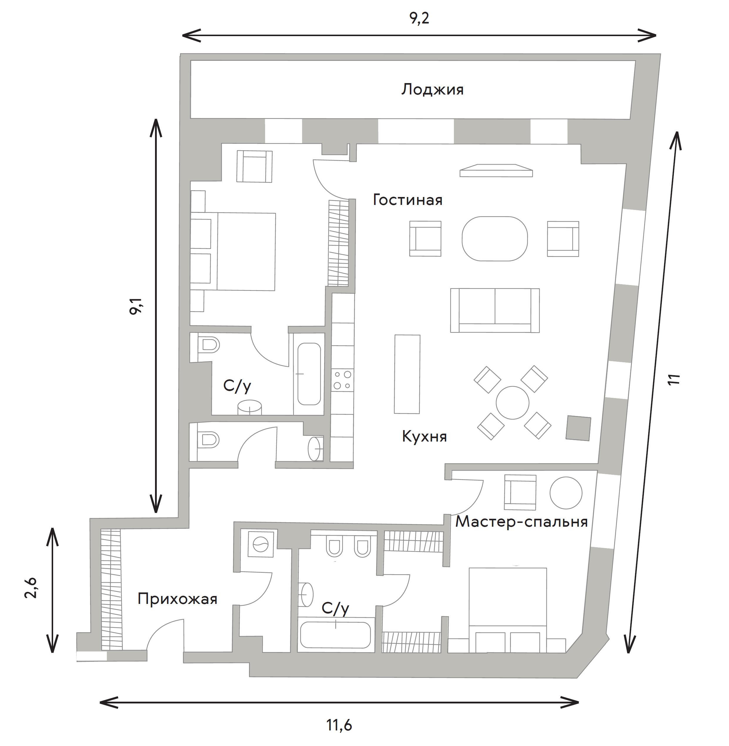 3Е-комнатная, 121.8 м²– 2