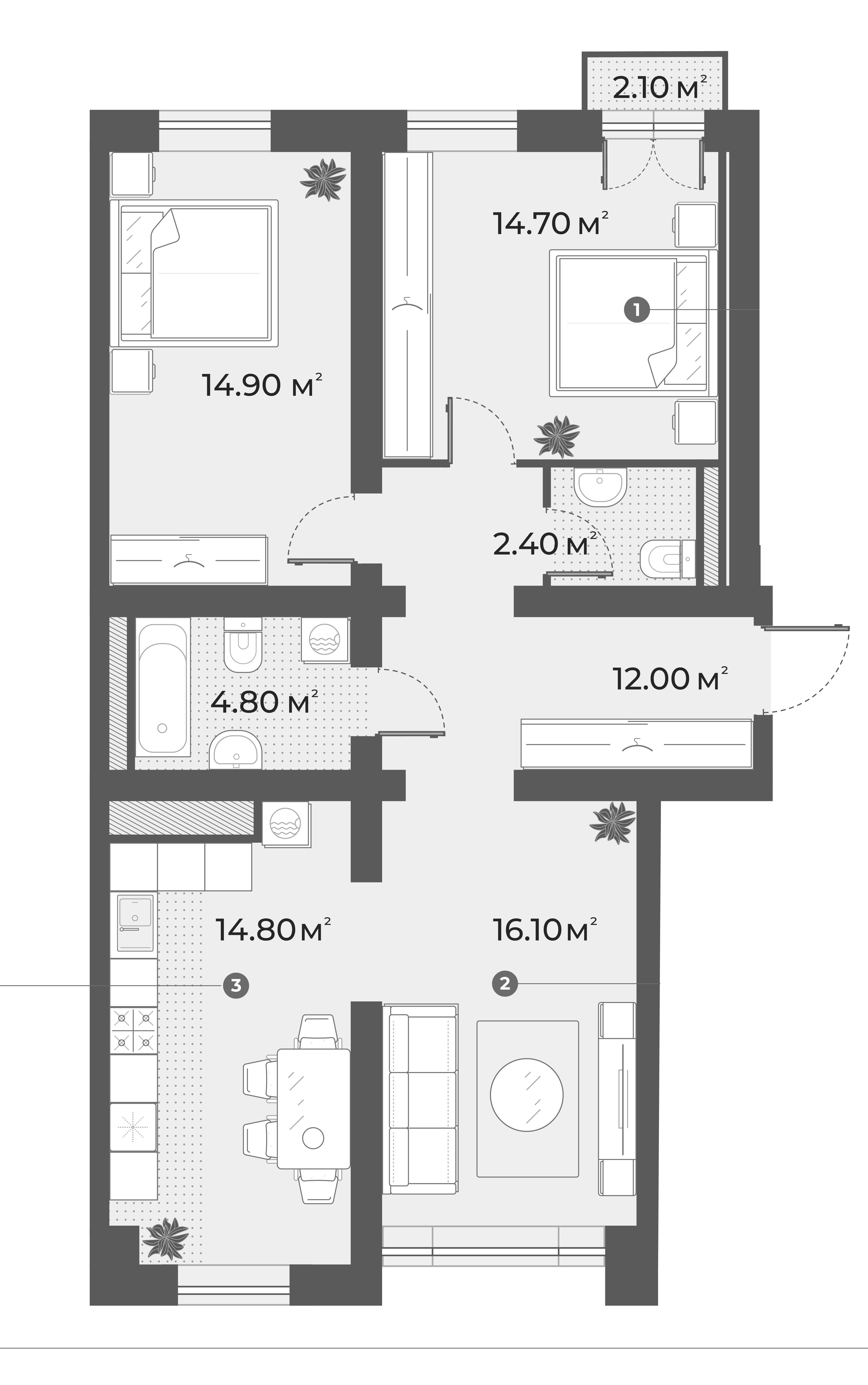 3-к.кв, 79.7 м², 3 этаж