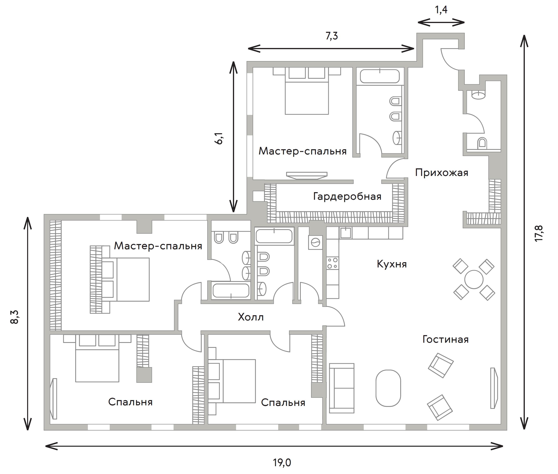 5Е-к.кв, 222.5 м²