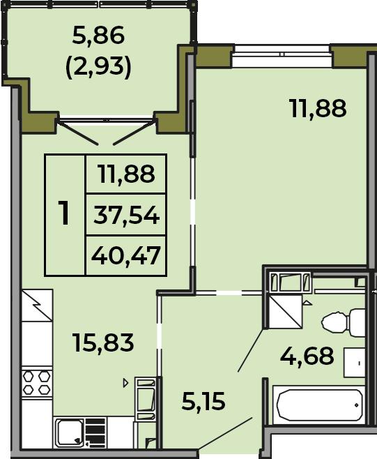 2Е-к.кв, 37.54 м², 2 этаж
