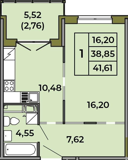 1-к.кв, 38.85 м², 2 этаж