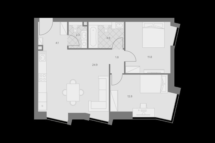 3Е-комнатная, 62.6 м²– 2