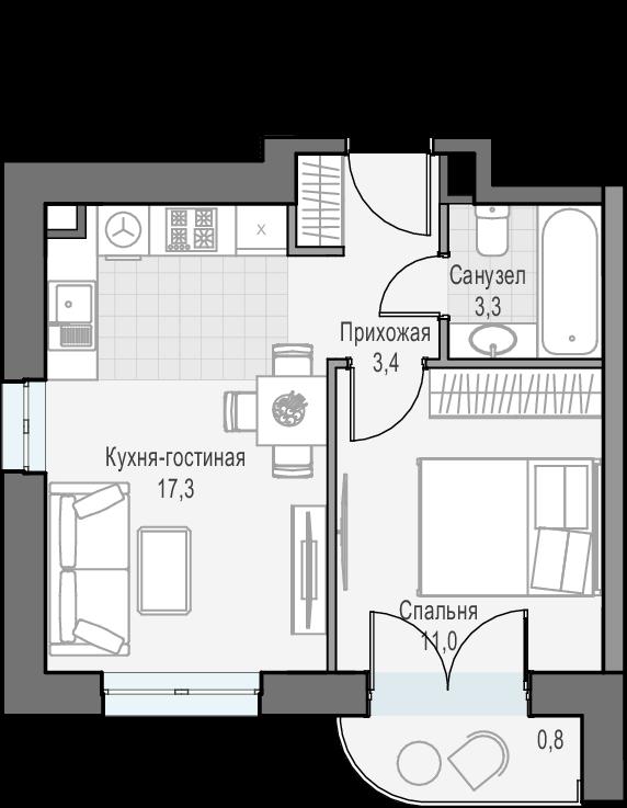 2Е-к.кв, 35.8 м², 18 этаж