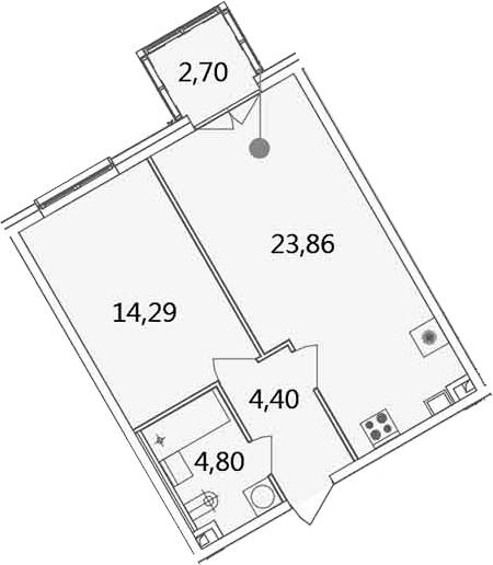 2Е-комнатная, 50.05 м²– 2