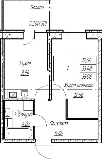 1-к.кв, 35.06 м², 2 этаж