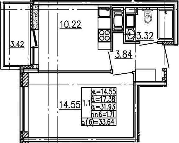 1-к.кв, 31.93 м²