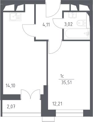 2Е-к.кв, 35.51 м²