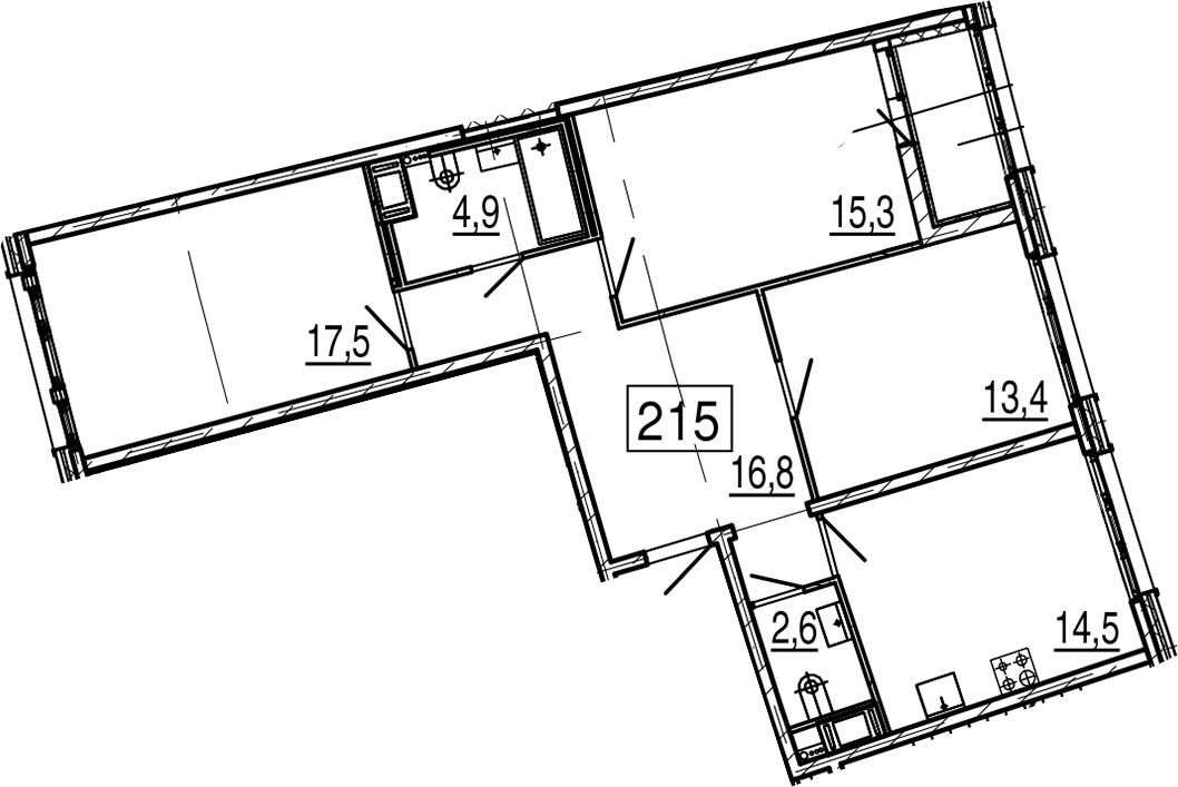 3-к.кв, 86.6 м², от 6 этажа