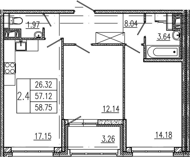 3Е-комнатная, 57.12 м²– 2