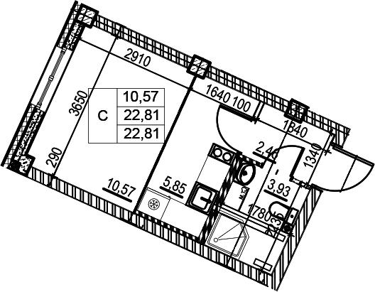 Студия, 22.81 м²– 2
