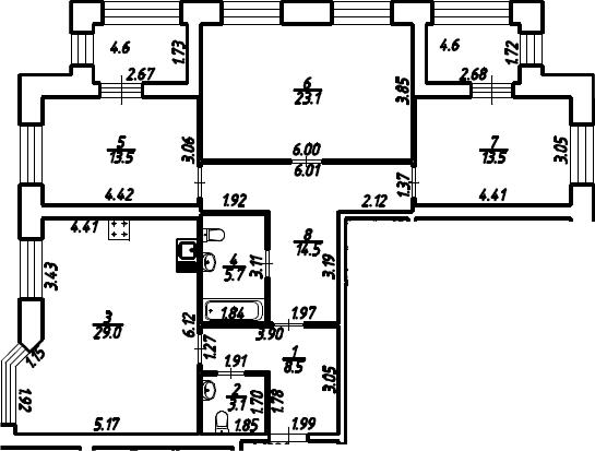 3-к.кв, 115.5 м²