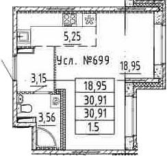 Студия, 30.91 м²