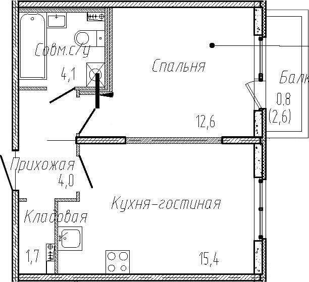 2Е-к.кв, 37.8 м², 1 этаж