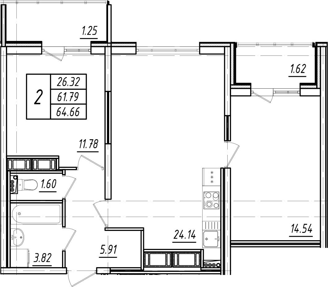 3Е-к.кв, 61.79 м²