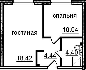 2Е-к.кв, 37.3 м², 3 этаж
