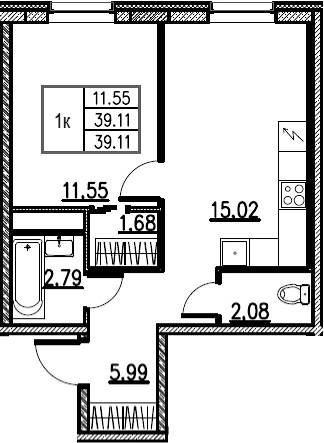 2-к.кв (евро), 39.11 м²
