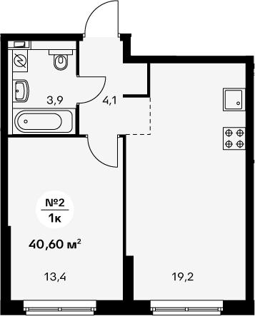 2-к.кв (евро), 40.6 м²