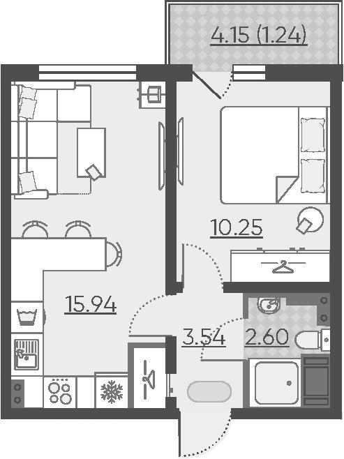 2Е-к.кв, 33.57 м², 11 этаж