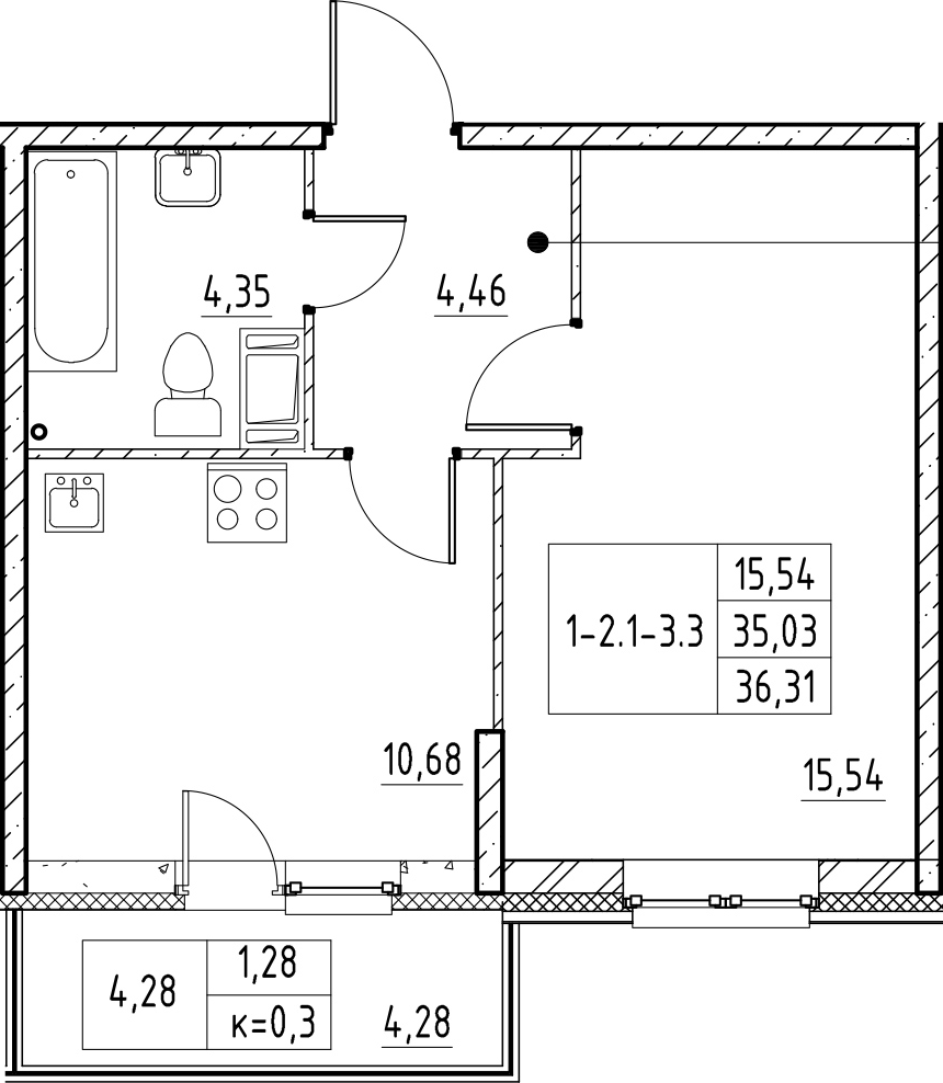 1-к.кв, 39.3 м²