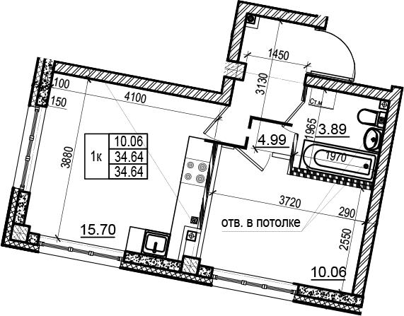 2Е-к.кв, 34.64 м²