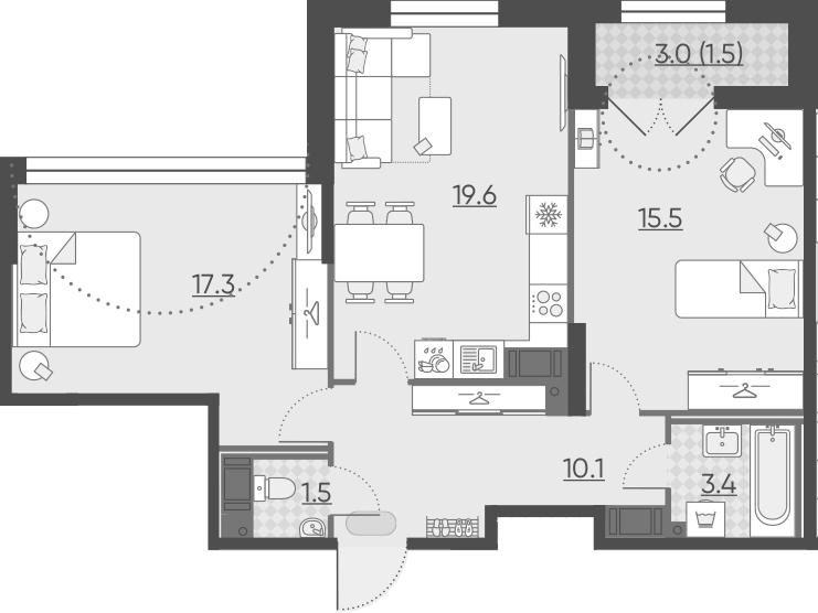 3Е-к.кв, 68.9 м², от 6 этажа