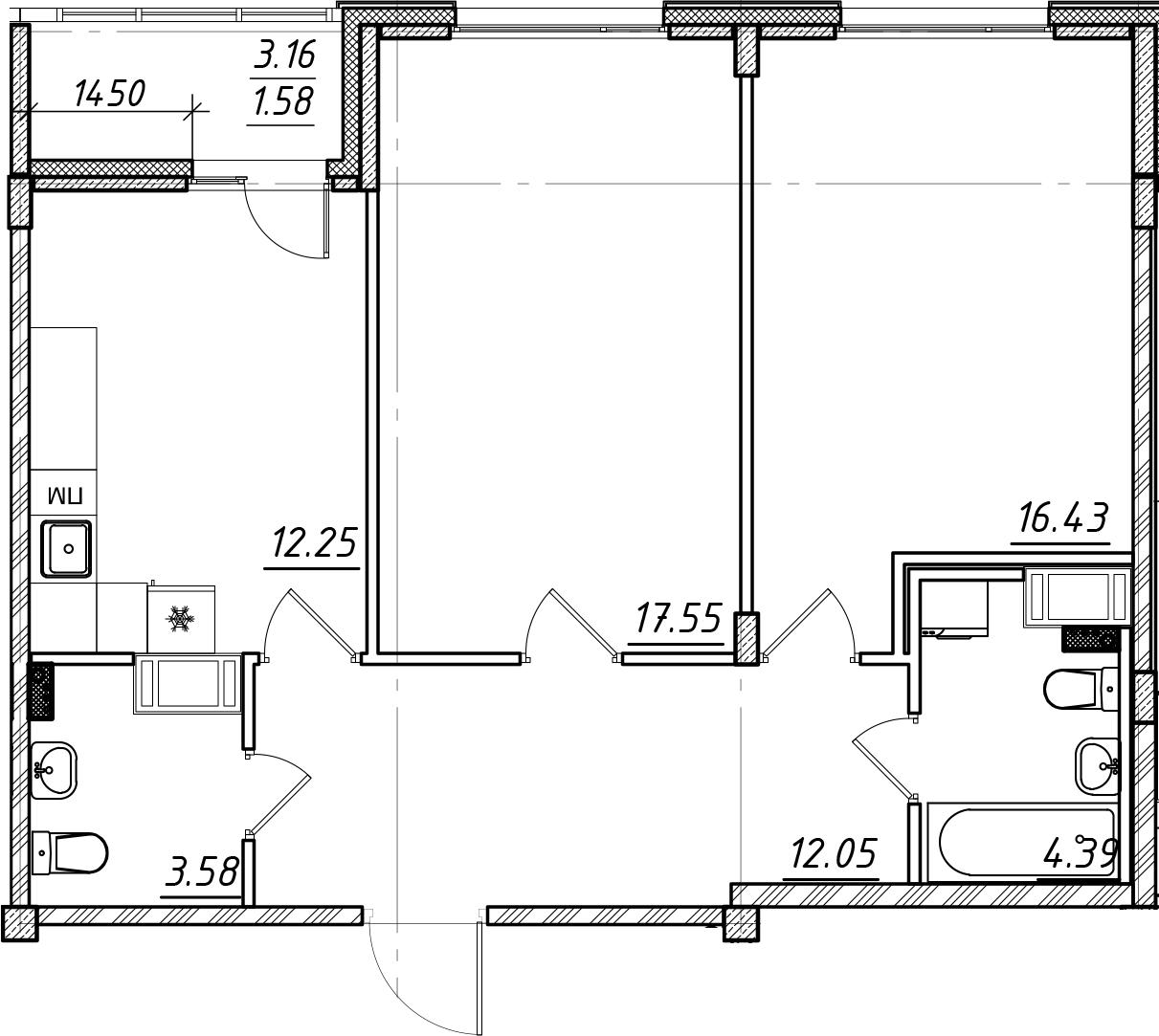 2-комнатная, 67.83 м²– 2
