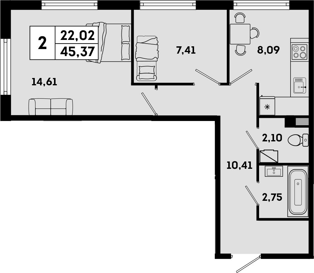2-к.кв, 45.37 м², 1 этаж
