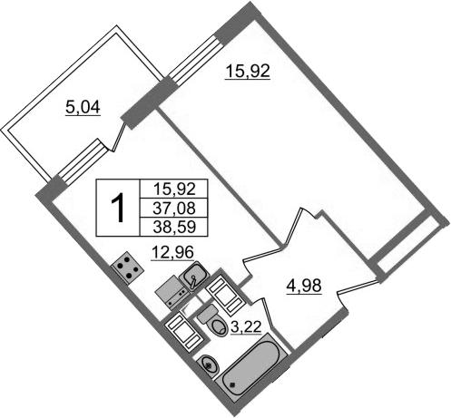 1-комнатная, 38.59 м²– 2