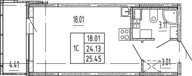 Студия, 24.13 м²