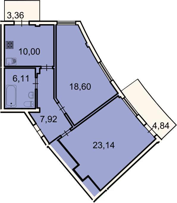 2-к.кв, 68.2 м², 2 этаж