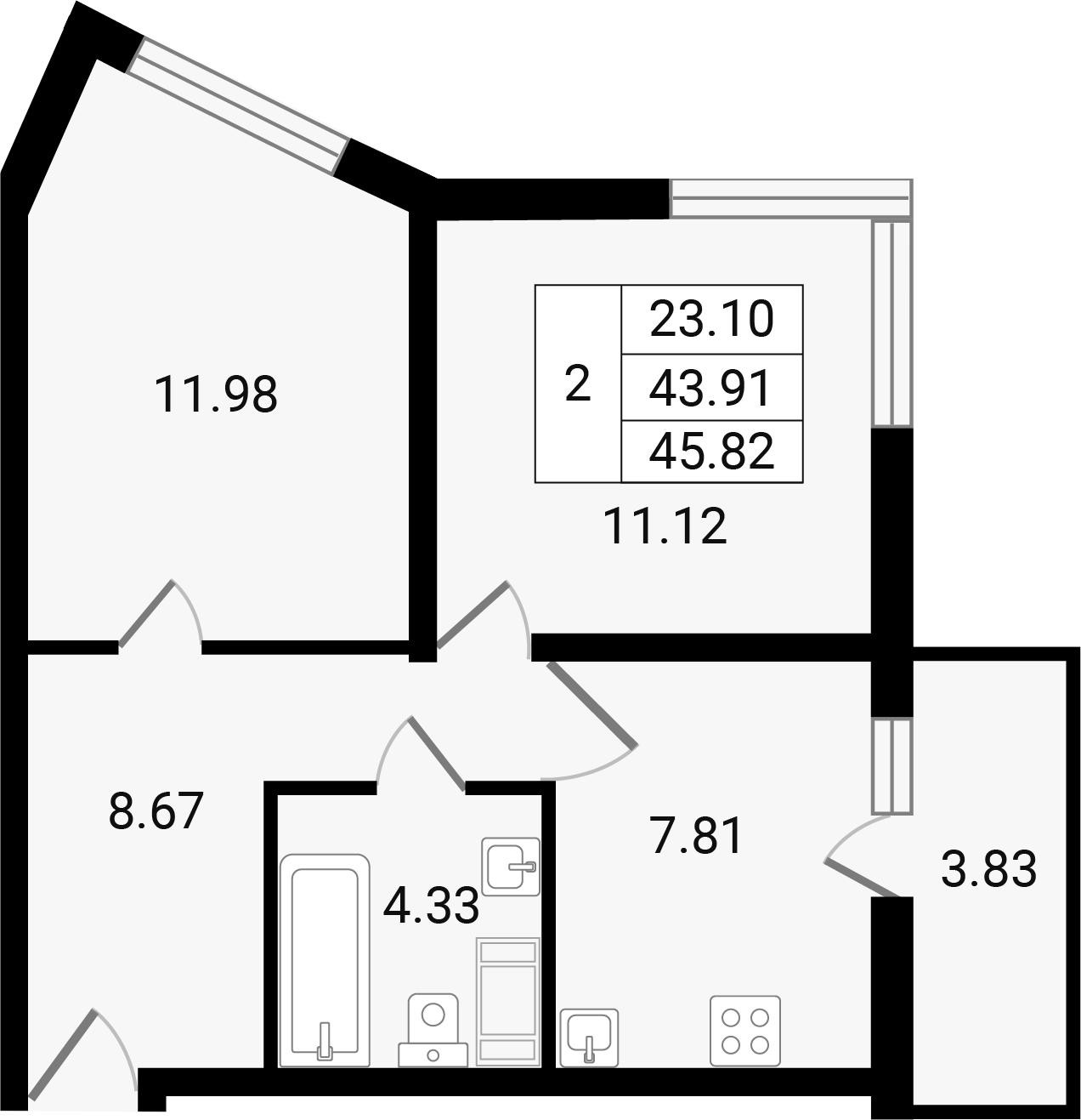 2-к.кв, 47.73 м²