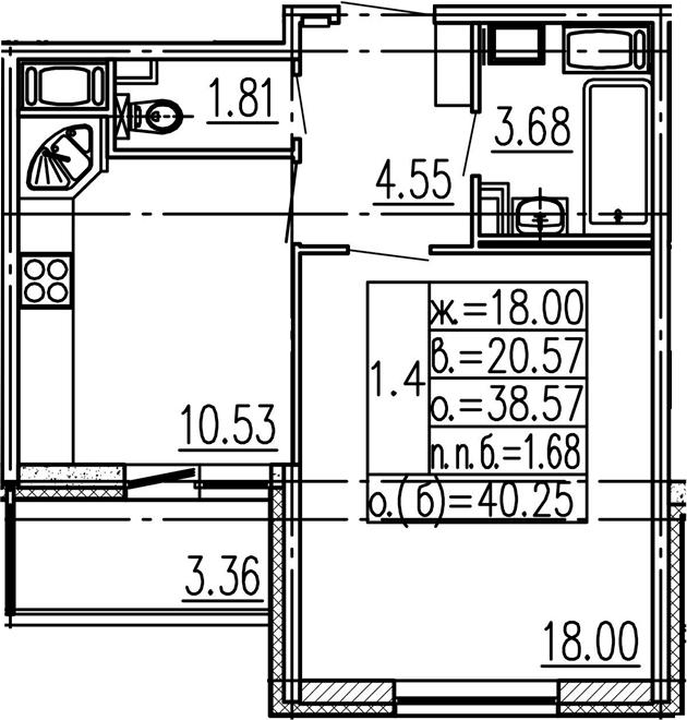 1-к.кв, 38.57 м²