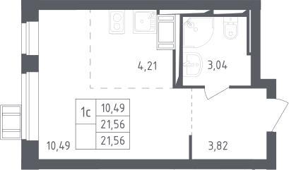 Студия, 21.56 м², 17 этаж