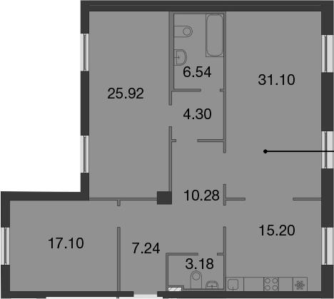 4Е-комнатная, 120.86 м²– 2