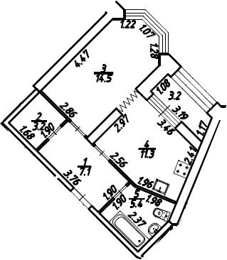 1-к.кв, 43.1 м², 2 этаж