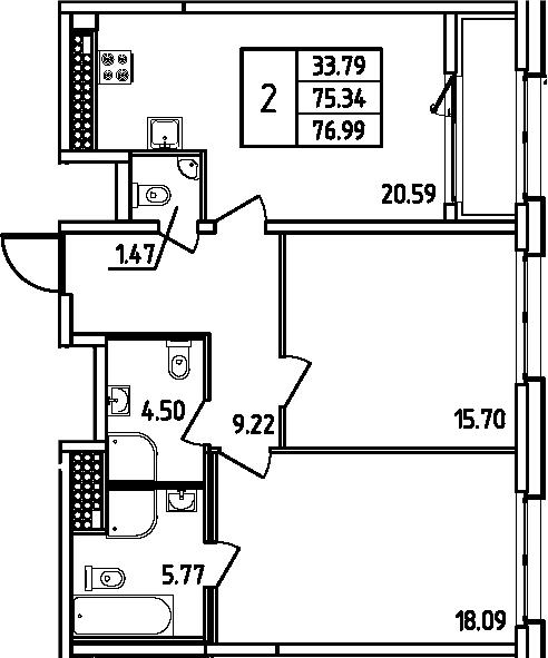 3Е-комнатная квартира, 76.99 м², 14 этаж – Планировка