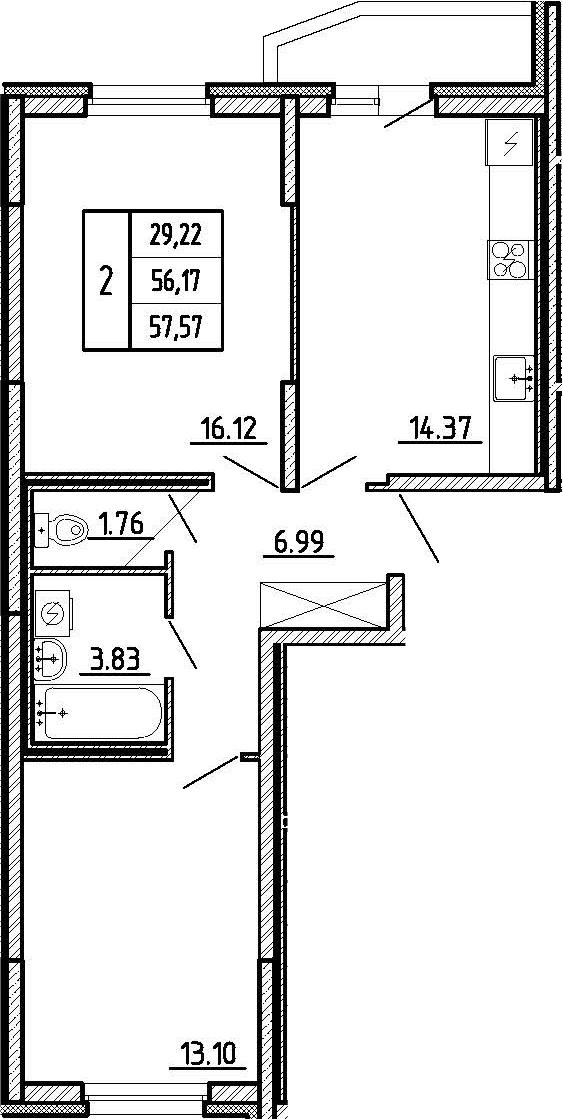 2-к.кв, 58.97 м²