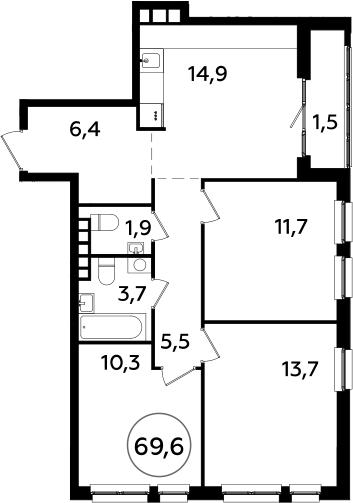 3-комнатная, 69.6 м²– 2
