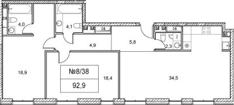 3Е-комнатная, 92.9 м²– 2