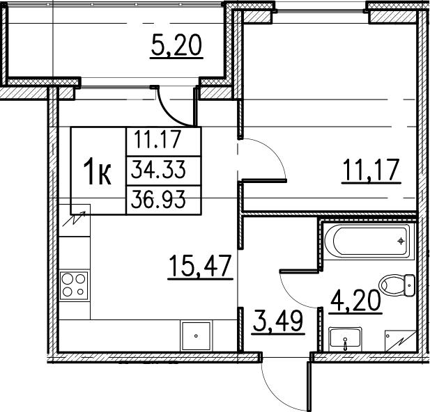 2Е-комнатная, 36.93 м²– 2